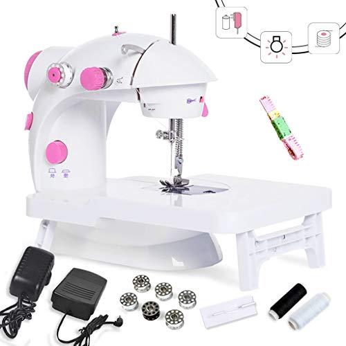 MTXD Naaimachine beginners, draagbare naaimachine verstelbare 2-traps dubbeldraads reparatiemachine met voetpedaal wit roze -1.7