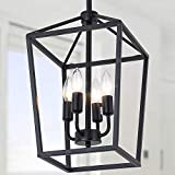 LMSOD 4 Lights Lantern Hanging Dining Room Lighting Fixtures, Black Farmhouse Modern Industrial Kitchen Island Chandeliers