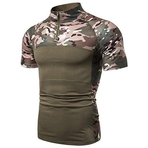 Camiseta táctica de manga corta con cremallera de 1/4 para hombre, estilo militar, camisa de combate Airsoft, parte superior de ropa al aire libre, entrenamiento de fitness, verde, M