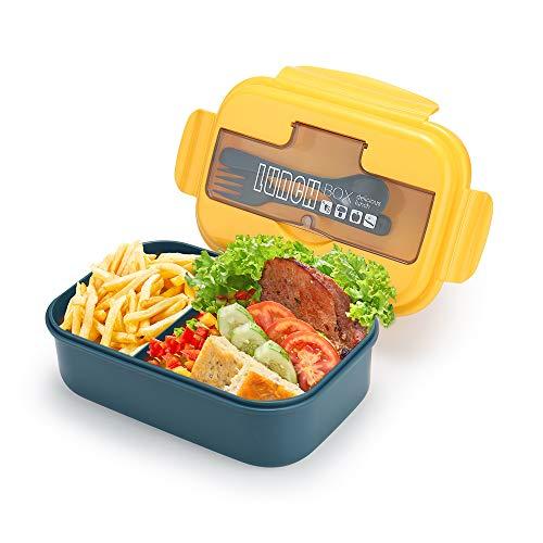 1100 ml Brotdose, Aufteilungs Behälter für Geteilte Mahlzeiten mit 2 Fächern, Auslaufsichere Lunchbox Bento Boxen mit Besteck für Kinder und Erwachsene für Schule, Arbeit, Reisen, Gelb Blau