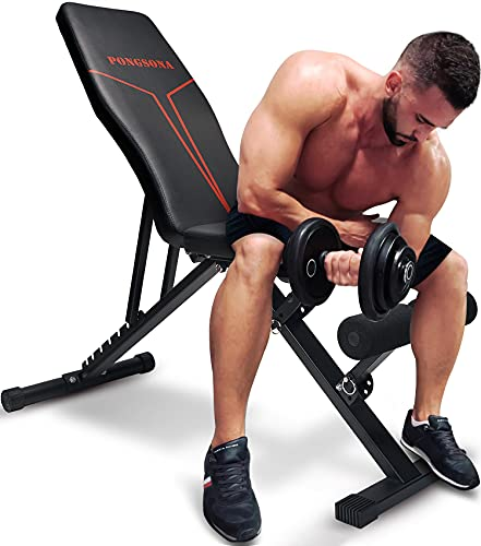 Pongsona Adjustable Weight Bench - Utility Weight Bench for Full Body Workout - Strength Training Benches for Home Gym , Multi-Purpose Foldable Incline Decline Bench