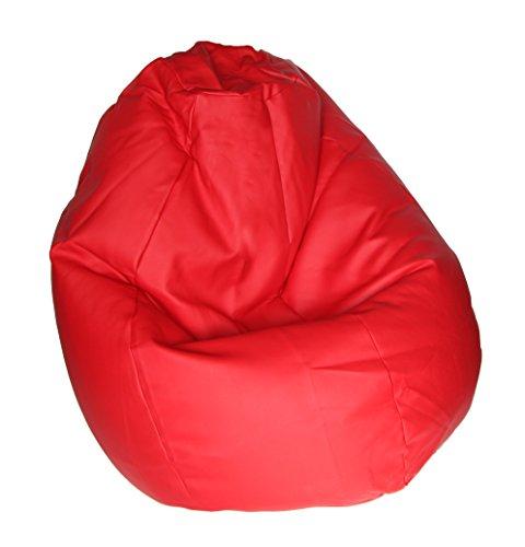 Quantum Interior Sitzsack Tropfenform Kunst/Textilleder Leder-Optik ca.65x85cm, ca. 260-280l Füllmaterial (Rot)