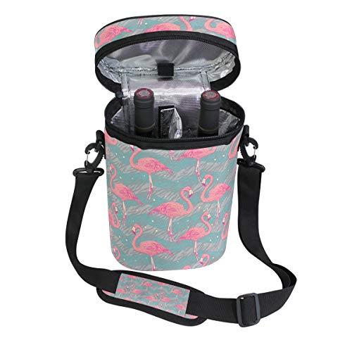 Ahomy Wine Tote Bag Flamingo Birds 2 Flaschen Wein Kühltasche für Reisen, Picknick, tolles Geschenk für Weinliebhaber