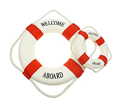 Bilipala Rustic Nautical Decorative Welcome Cloth Life Ring Buoy Home Wall Door Hangings Decor, Red, Pack of 2
