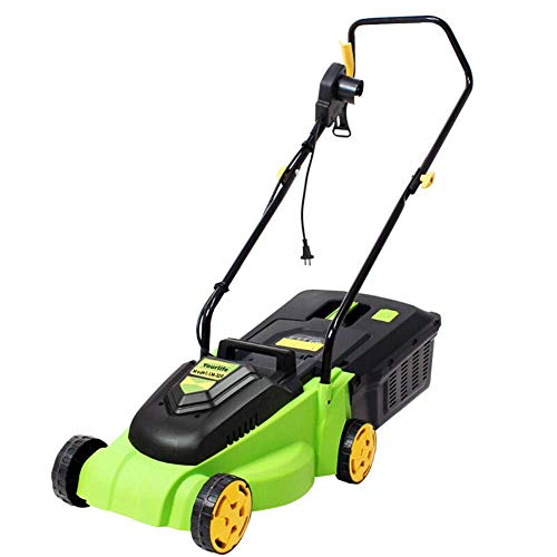FHDFH Electric Corded Lawn Mower, 32cm Cutting Width, Home Portable propelled Lawn Mower greenworks (3-Stage Cut Height Adjustment)