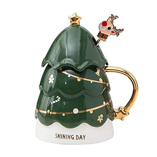 Augneveres Kaffeetasse in Weihnachtsbaumform, isoliert, lustige Tassen für Damen und Herren, Familie, Freunde, 400 ml