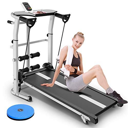 DUDM con Schermo HD Tappeto da Corsa Fitness Multifunzione Meccanico Running Machine for Home Inclinazione + Pieghevole Tapis Roulant Silenzioso Enorme Superficie di CorsaA-110x115x55cm(43x45x22inch)