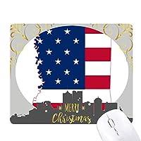 ミシシッピ州の米国のマップ星とストライプの旗の形 クリスマスイブのゴムマウスパッド