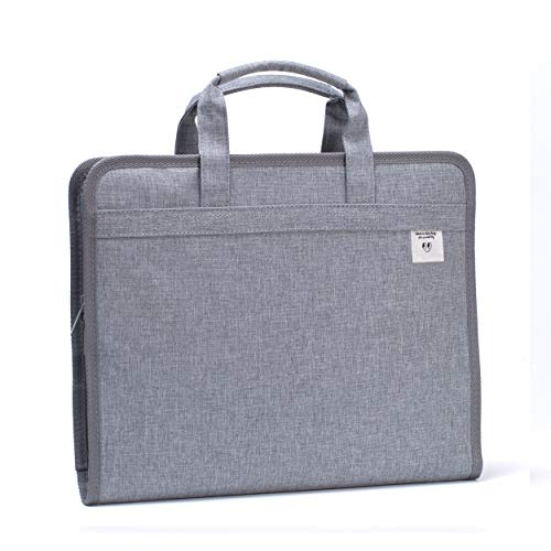Leven Fabric Expanding File Folder, Accordian Portable Business Briefcase, A4 Letter Size Oxford Canvas Document Holder 13 Pockets File Organizer