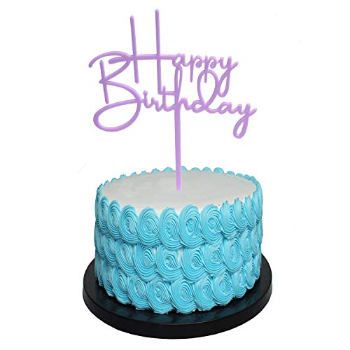 Happy Birthday Cake Toppers. Sparkling Purple Birthday Cupcake Picks. Cake Birthday Party Decorations