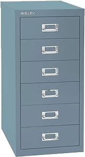 Bisley 6 Drawer Steel Under-Desk Multidrawer Storage Cabinet, Steel Blue (MD6-SB)