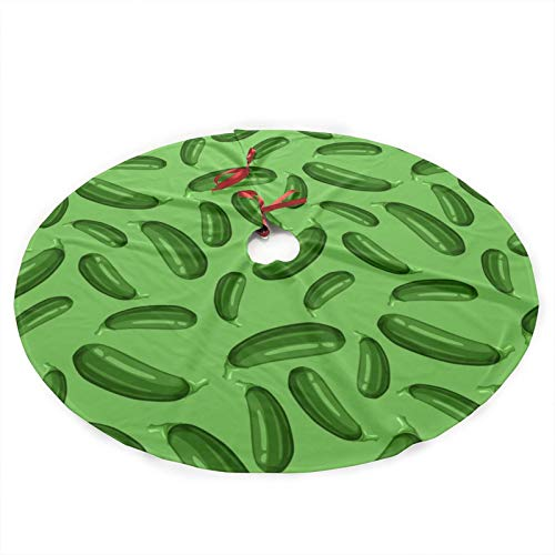 antkondnm Green Ripe Zucchini Deluxe Print Large Christmas Tree Skirt 35.5 inch, Festive Holiday Party Decoration