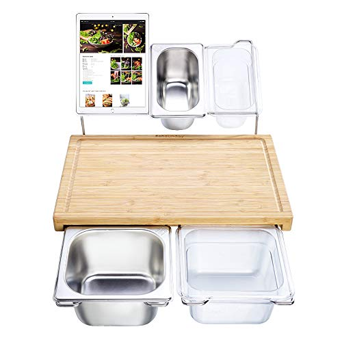 Bamboo Cutting Board Set with 4 Containers