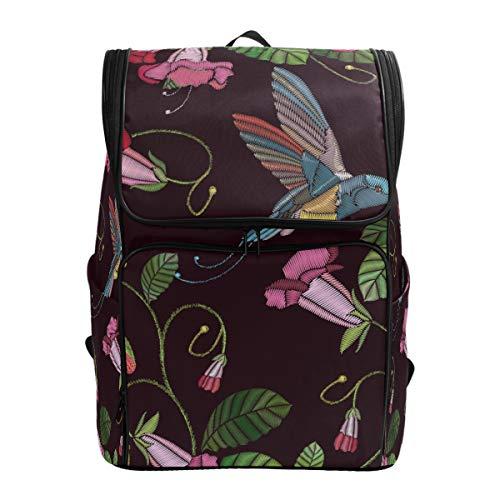 Ahomy Schulrucksack, Morning Glory Blume, Kolibri, groß, wasserdicht, Tagesrucksack, Computer-Rucksack für Arbeit und College