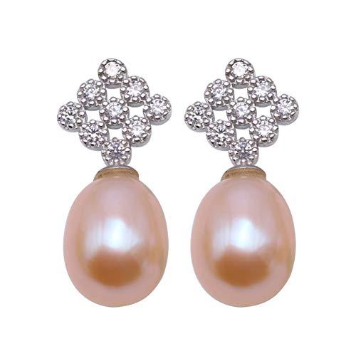 JYX - Orecchini pendenti in argento Sterling con perle d'acqua dolce, 9-11,5 mm, ovali da donna e Argento, colore: rosa, cod. FES345