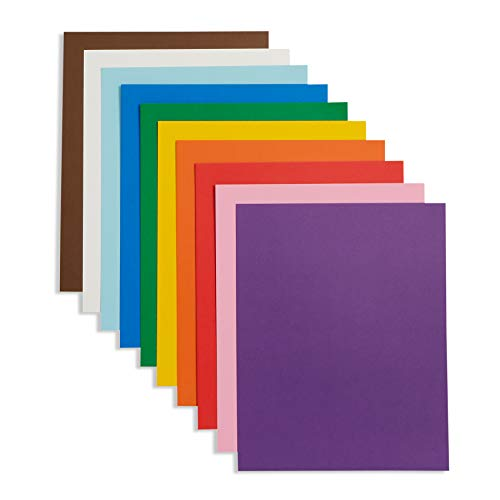 Blue Summit Supplies Bright Bold Poster Board, 9 x 12 Inch Small Size, Assorted Colors, For Classroom Use, School Projects, or Craft Projects, Bulk Poster Board 50 Pack