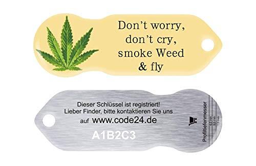 Code24 Einkaufswagenlöser Cannabis, Schlüsselanhänger mit Einkaufschip & Schlüsselfinder, inkl. Registriercode für Schlüsselfundservice, Einkaufswagenchip mit Profiltiefenmesser, Key-Finder
