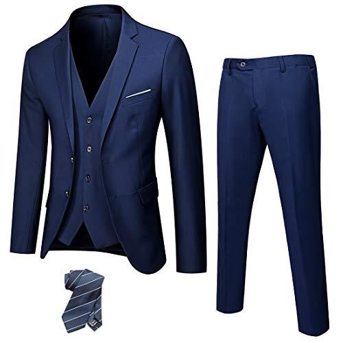 MAGE MALE Men's 3 Pieces Suit Elegant Solid One Button Slim Fit Single Breasted Party Blazer Vest Pants Set Dark Grey