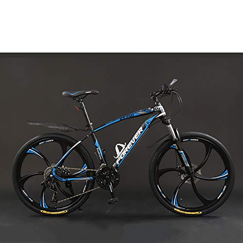 zxcvb Adult Mountain Bike, 26 inch Wheels, Mountain Trail Bike High Carbon Steel Outroad Bicycles, 21/24/27/30-Speed Bicycle Full Suspension MTB Dual Disc Brakes