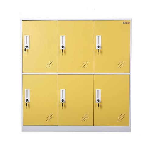 MECOLOR Pequeño armario del gabinete del metal de la oficina, armarios del metal para el espacio de la oficina, armario para el empleado (amarillo, 6D)