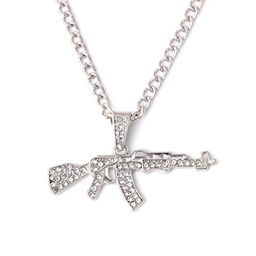 Fashion Cool AK47 Gun Collana con Ciondolo Gioielli Hip Hop Collane Color Oro per Uomo e Donna Catena in Acciaio Inossidabile
