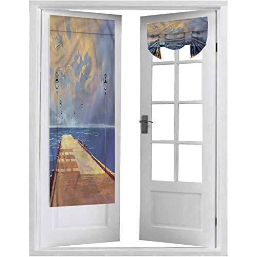 Blackout Door Curtain, Fantasy,Bridge Pier Sea Harbor, 1 Panel-26' X 68' Tie Up Shades Window Curtains for Bedroom