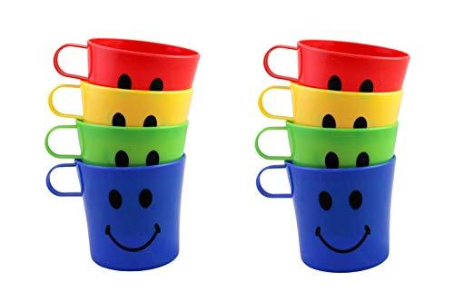 Home & Style 8 Pack Plastic Children's Smiley Face Mug