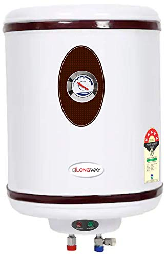 Longway 5 Star Rated 25 Litre Automatic Storage Electric Water Heater with Special Anti-Rust Coating, 2kW Geyser (White, 25L, HOTPLUS)