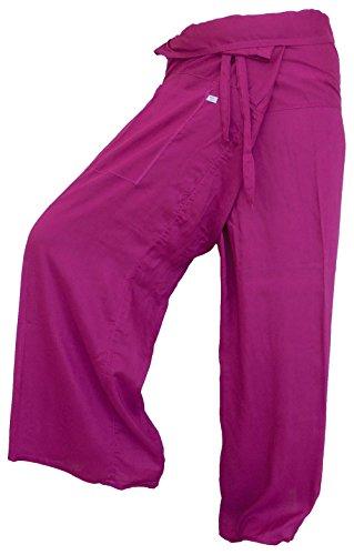Original from einfachklever Fisherpant Pescador Pantalones * * Rosa * * Pantalones de Yoga Envoltura Deporte Tailandia Thai Largo