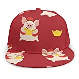 Unisex Baseball Cap Cute Pig Money Animal Adults Printed Caps Hats Adjustable Straight Brim Hat Black