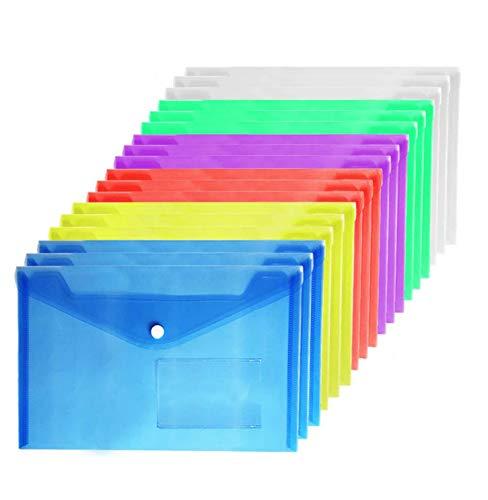 Cartellina Portadocumenti Colori- A5 Cartelle a Tasca Cartelline Plastica Busta con Bottone a5 Portadocumenti Per Archivio Ufficio e Accessori per Scrivania Colori Assortiti 36 Pezzi