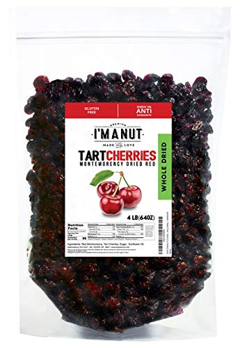 Dried Cherries 4 LB (=64oz) Resealable Bag, Tart (Sour) Montmorency Variety - /sweetened