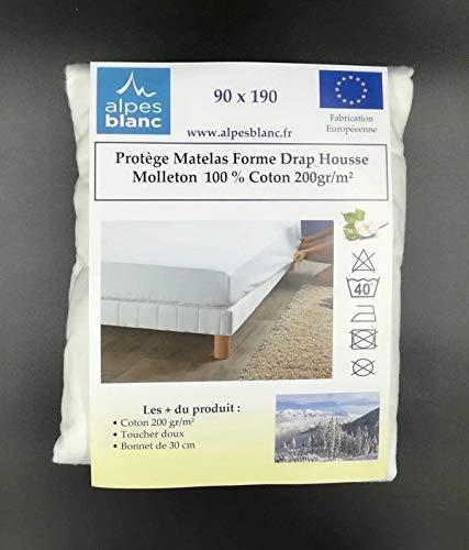 Alpes Blanc Protège Matelas Molleton Coton 200gr/m² Grands Bonnets - Dimensions - 90 x 190