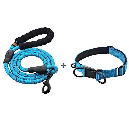 U-picks - Set guinzaglio e collare per cani, in corda resistente, con collare comodo e riflettente, per cani di taglia media e grande