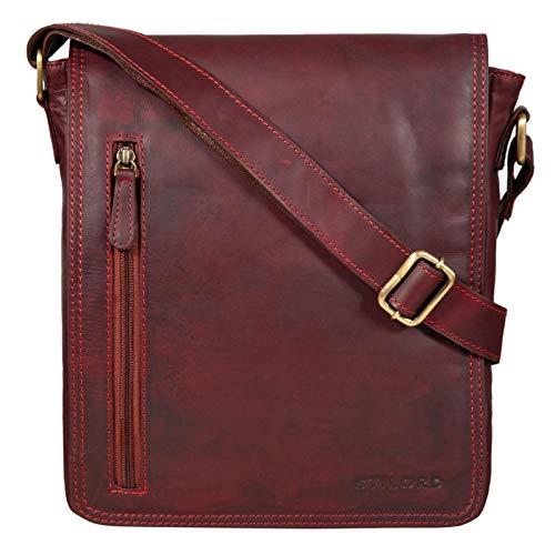 STILORD \'Will\' Umhängetasche Leder Männer Messenger Bag für iPad kleine Schultertasche Handtasche Herren-Tasche 10,1 Zoll Tablettasche echtes Leder, Farbe:Rosso