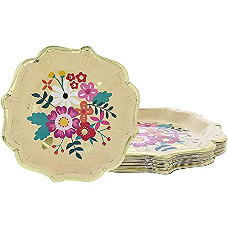 gold and floral paper plates