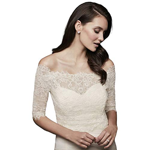 Off-The-Shoulder Lace Topper with 3/4 Sleeve Style OW2112, Ivory, 22