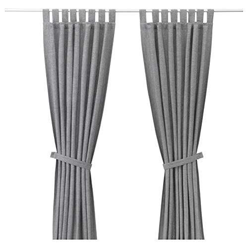 IKEA ASIA LENDA Vorhänge mit Raffhaltern 1 Paar grau