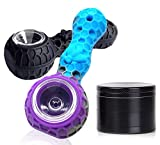 Grinder Set with Silicone Straw and Spice Herb Grinder (Black & Blue/Purple)