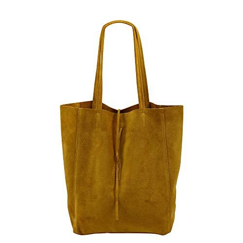 SH Leder ® Damen Echt Wildleder Shopper mit Innentasche in vielen Farben Schultertasche Henkeltasche 37x29cm Katrin G261 (Senf Gelb)