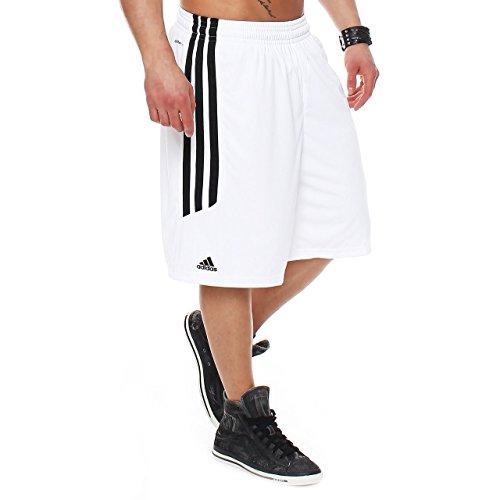 Adidas, pantaloncini da basket da uomo, in tessuto Climalite traspirante, modello NBA, da corsa, Uomo, O22294, bianco/nero., 3XT (Tall)