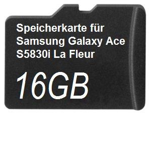 16GB Speicherkarte für Samsung Galaxy Ace S5830i La Fleur