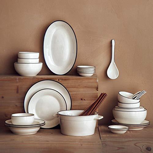 ZJZ Juego de vajilla, Cuenco de cerámica para Cena de 40 Piezas, Plato, Cuchara, Juego de combinación de Porcelana de línea Azul Blanco Puro