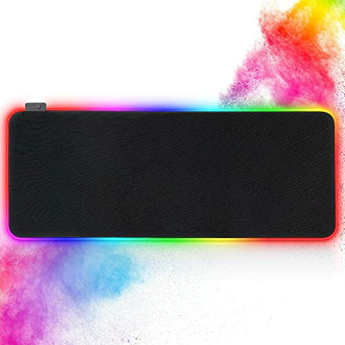 LELONG Gaming Mouse Pad, Large Extended RGB Led Mouse Pad with 14 Lighting Modes, Waterproof Computer Keyboard XXL Mouse Pad (31.5 x 11.8 inches)