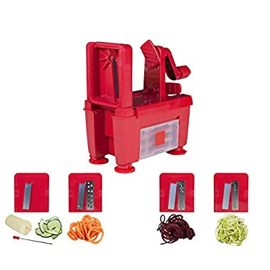 Paderno World Cuisine 4-Blade Folding Vegetable Slicer/Spiralizer Pro, Counter-Mounted and includes 4 Different Stainless Steel Blades, Red