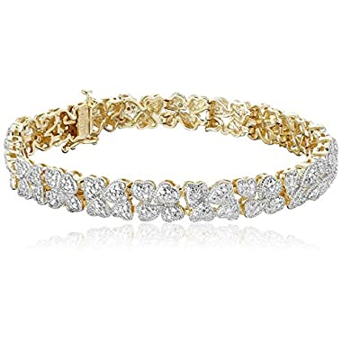 Amazon Collection 18k Yellow Gold Plated Sterling Silver Genuine Diamond Hearts Bracelet (1/10 cttw, I-J Color, I2-I3…