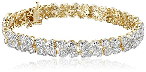 18k Yellow Gold Plated Sterling Silver Genuine Diamond Hearts Bracelet (1/10 cttw, I-J Color, I2-I3 Clarity), 7.25""