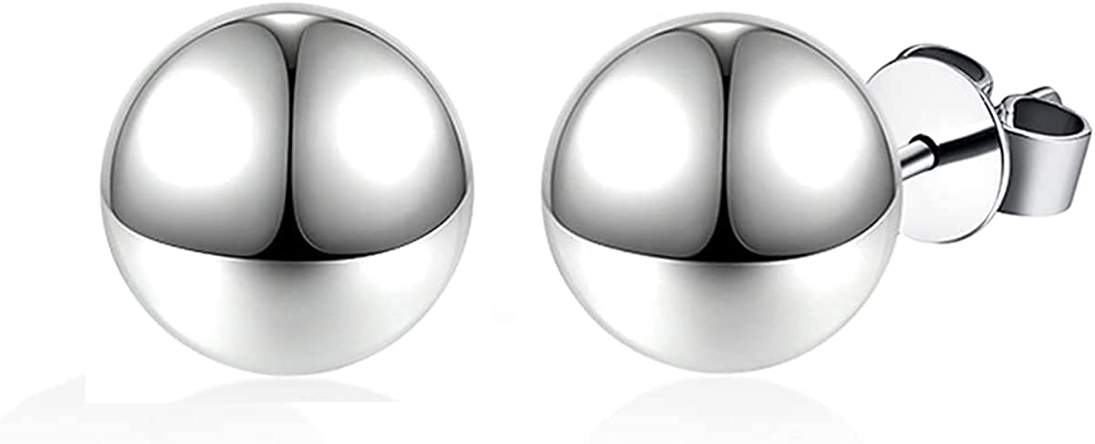 JXSJEW Dallas Mall Polished Ball Stud Earrings Sterling Manufacturer regenerated product 925 Silver
