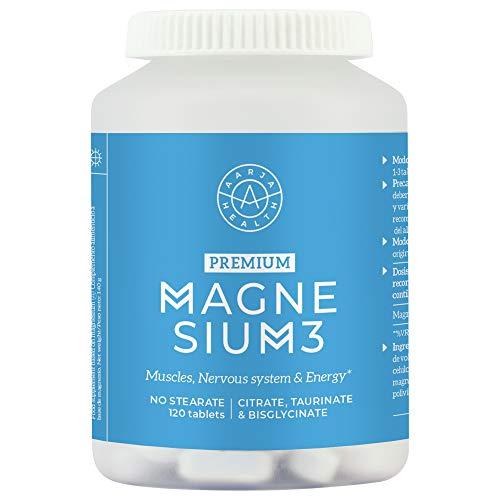 Triple Magnesio - 2400 mg de Magnesio Provee 375 mg de Magnesio elemental Puro Para Máxima Absorción – ayuda calambres y dolores musculares - por Aarja Health - 120 Tabletas veganas - Sin Estearato