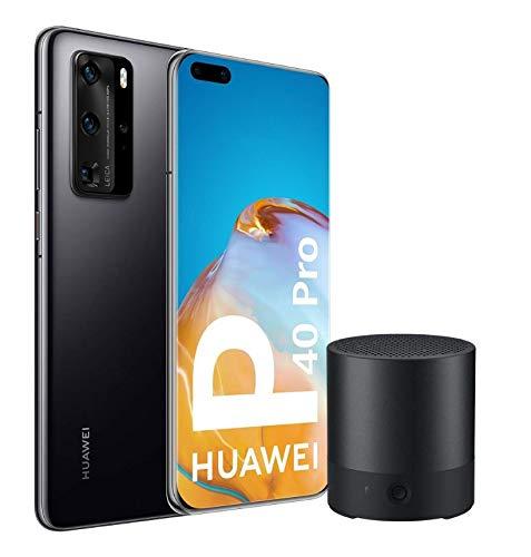 "Huawei P40 Pro 5G - Smartphone de 6,58"" OLED (8GB RAM + 256GB ROM, Cuádruple Cámara Leica de 50MP (50+40+12+TOF), zoom 50x, Kirin 990 5G, 4200 mAh, carga rápida , EMUI 10 HMS) negro + CM510"